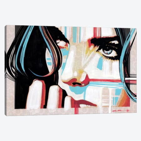 Electric Blue V 3-Piece Canvas #FMO41} by Fernan Mora Canvas Print