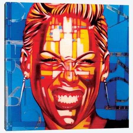 Pink In Blue Canvas Print #FMO82} by Fernan Mora Canvas Art Print