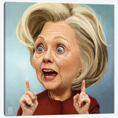 Hillary Clinton Canvas Print #FMZ24} by Fernando Méndez Art Print