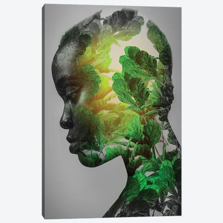 Green Woman Canvas Print #FNA12} by fndesignart Canvas Art
