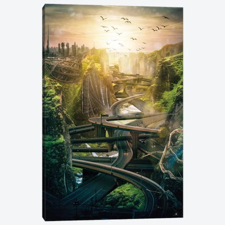 Roads Surreal Canvas Print #FNA32} by fndesignart Canvas Art