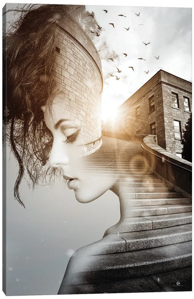Stairs Woman Canvas Art Print