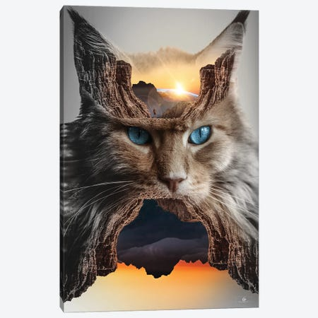 Cat Canvas Print #FNA64} by fndesignart Canvas Wall Art