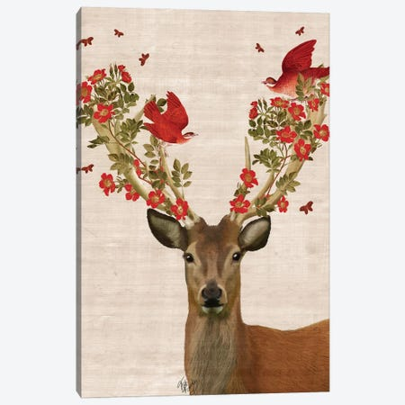 Deer & Love Birds Canvas Print #FNK1001} by Fab Funky Canvas Art Print