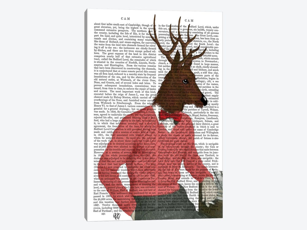 Deer At The Bar by Fab Funky 1-piece Canvas Art Print