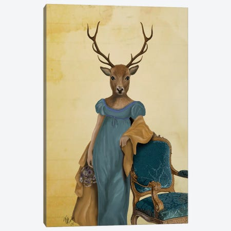 Deer In Blue Dress Canvas Print #FNK1003} by Fab Funky Canvas Print