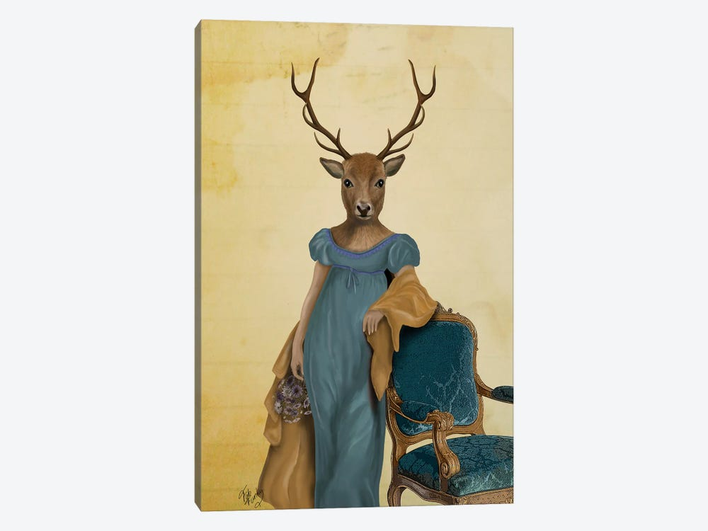 Deer In Blue Dress by Fab Funky 1-piece Canvas Art
