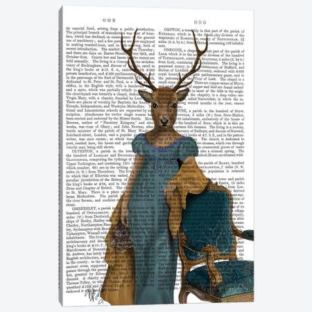 Deer In Blue Dress, Print BG Canvas Print #FNK1004} by Fab Funky Canvas Artwork