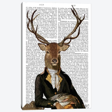 Deer In Chair Canvas Print #FNK1005} by Fab Funky Canvas Artwork