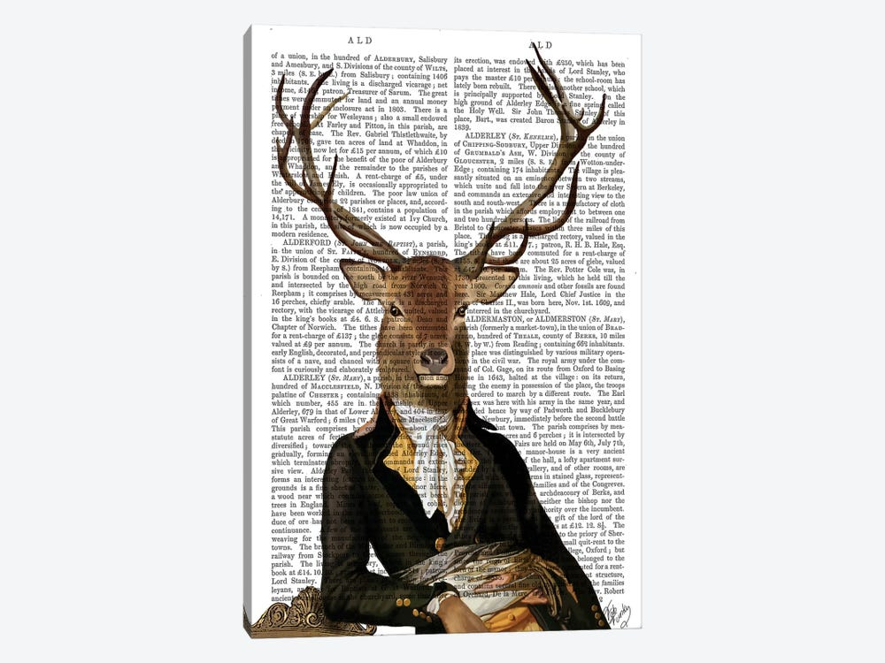 Deer In Chair by Fab Funky 1-piece Canvas Wall Art