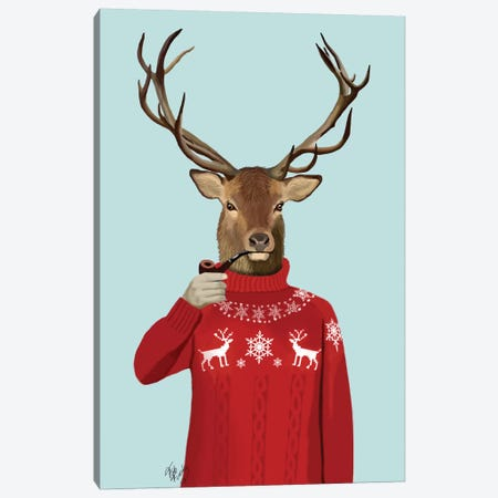 Deer In Ski Sweater Canvas Print #FNK1006} by Fab Funky Canvas Art