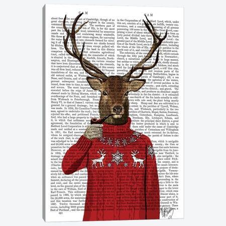 Deer In Ski Sweater, Print BG Canvas Print #FNK1007} by Fab Funky Canvas Art