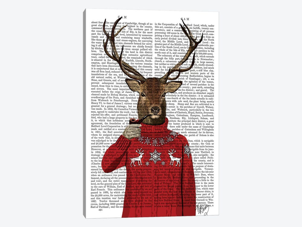 Deer In Ski Sweater, Print BG by Fab Funky 1-piece Canvas Artwork