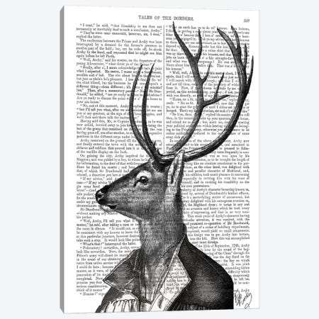 Deer Portrait II Canvas Print #FNK1009} by Fab Funky Canvas Art Print