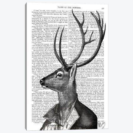 Deer Portrait II Canvas Print #FNK1009} by Fab Funky Canvas Art Print