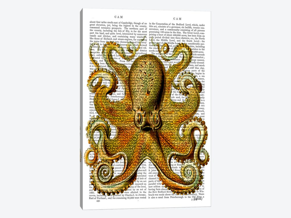 Vintage Yellow Octopus by Fab Funky 1-piece Canvas Art Print