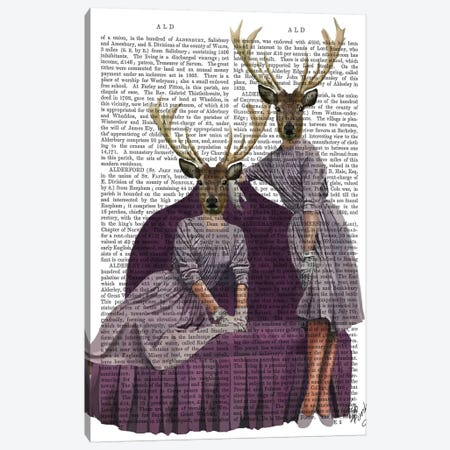 Deer Twins In Purple Canvas Print #FNK1010} by Fab Funky Canvas Artwork
