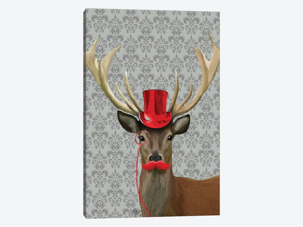 Deer With Red Hat & Moustache by Fab Funky 1-piece Art Print