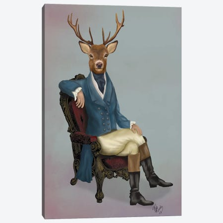 Distinguished Deer Full Canvas Print #FNK1015} by Fab Funky Canvas Print
