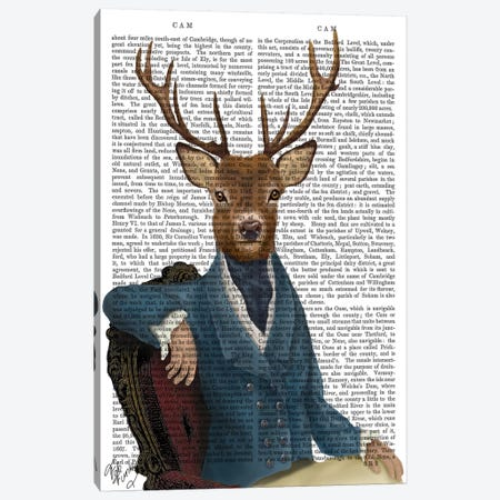 Distinguished Deer Portrait Canvas Print #FNK1016} by Fab Funky Art Print