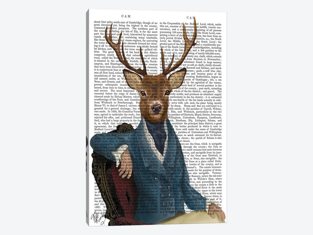 Distinguished Deer Portrait by Fab Funky 1-piece Canvas Art