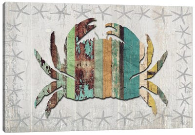 Distressed Wood Style: Crab Canvas Art Print