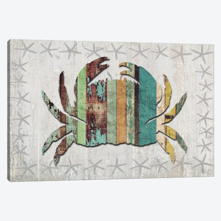 Distressed Wood Style: Crab Canvas Print #FNK1019} by Fab Funky Canvas Wall Art