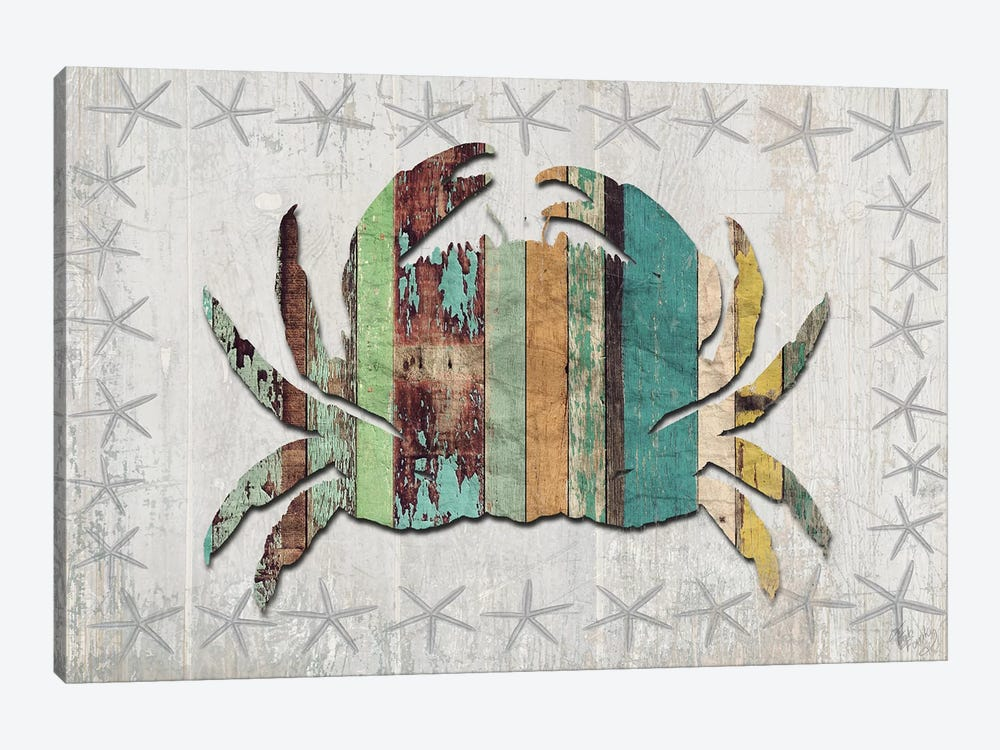 Distressed Wood Style: Crab by Fab Funky 1-piece Art Print