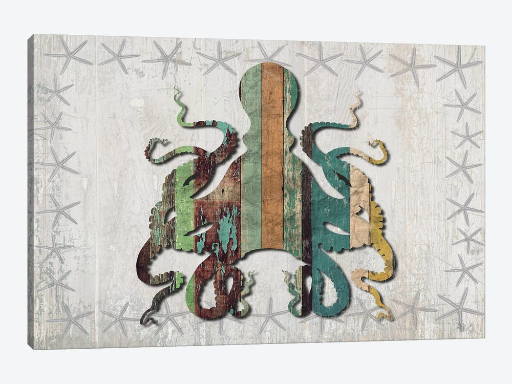 Distressed Wood Style: Octopus by Fab Funky 1-piece Canvas Artwork