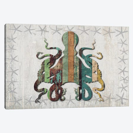 Distressed Wood Style: Octopus Canvas Print #FNK1021} by Fab Funky Art Print