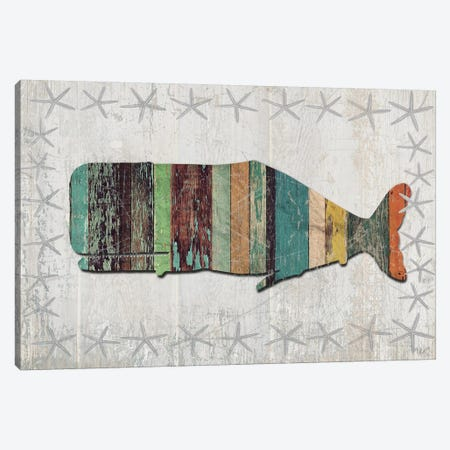 Distressed Wood Style: Whale Canvas Print #FNK1023} by Fab Funky Canvas Art Print