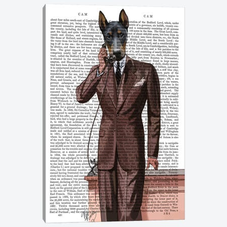 Doberman On Phone Canvas Print #FNK1024} by Fab Funky Canvas Wall Art