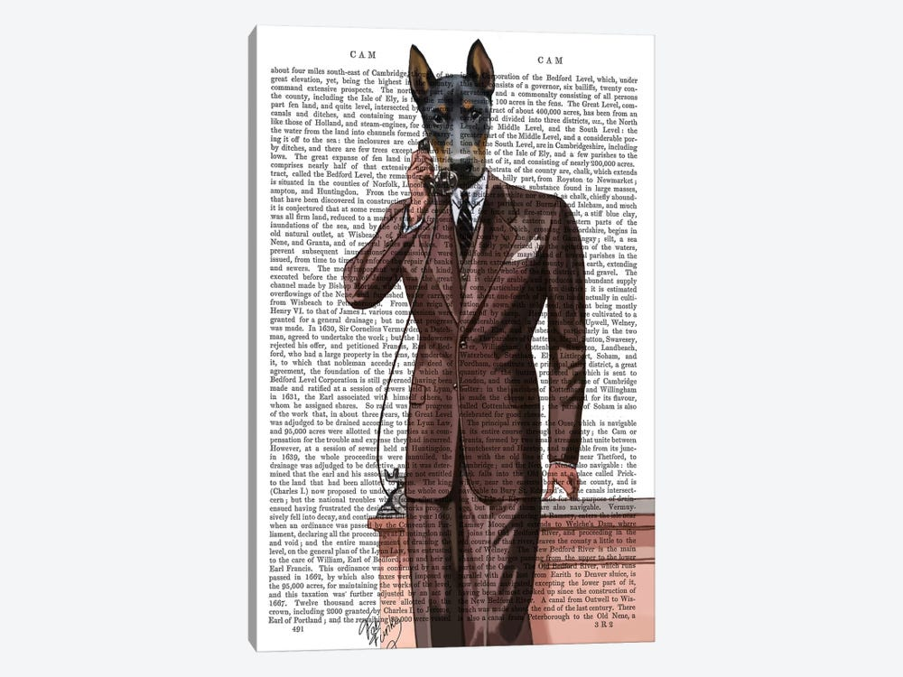 Doberman On Phone by Fab Funky 1-piece Canvas Print