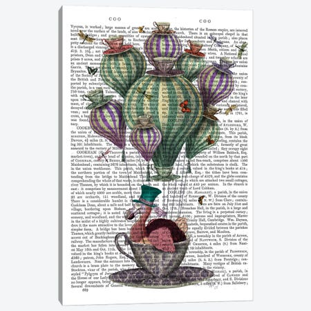 Dodo In Teacup With Dragonflies Canvas Print #FNK1027} by Fab Funky Canvas Artwork