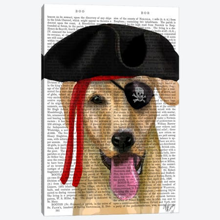 Yellow Labrador Pirate Canvas Print #FNK102} by Fab Funky Art Print