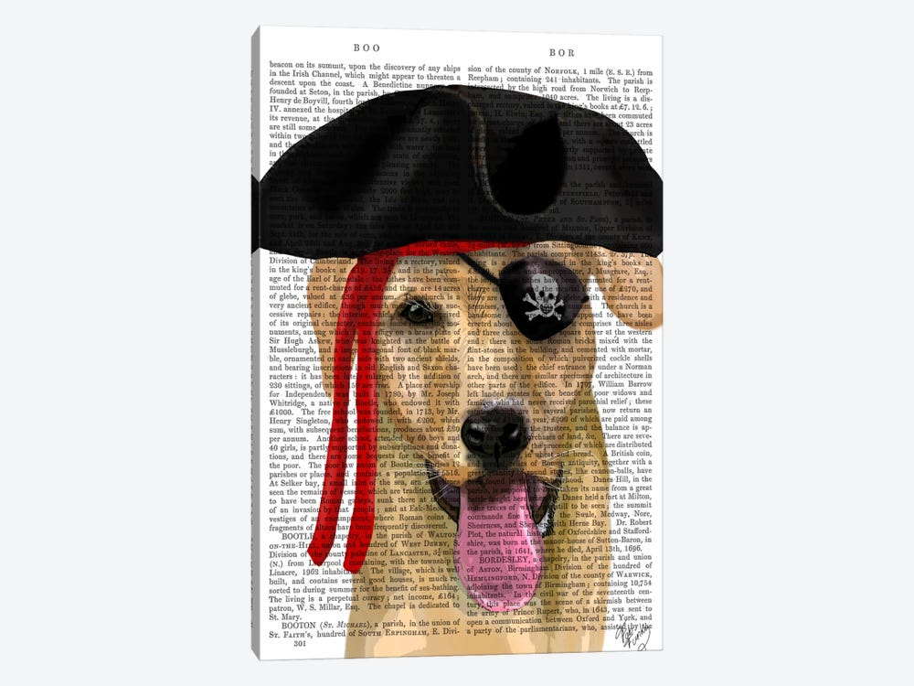 Yellow Labrador Pirate by Fab Funky 1-piece Art Print