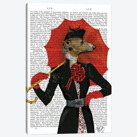 Elegant Greyhound & Red Umbrella, Print BG Canvas Print #FNK1033} by Fab Funky Canvas Artwork