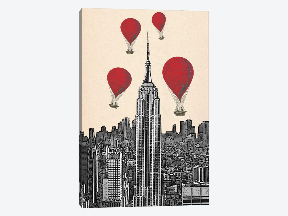 Empire State Building & Red Hot Air Balloons by Fab Funky 1-piece Canvas Art Print