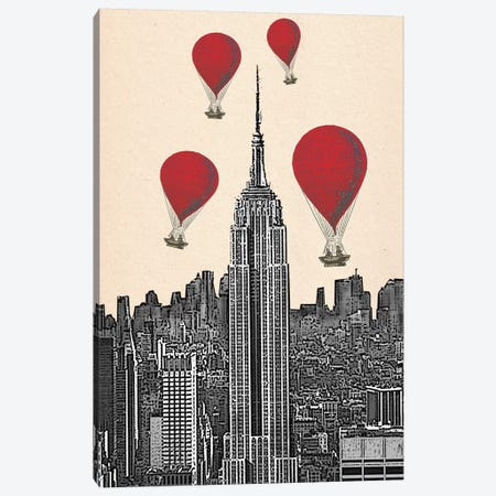 Empire State Building & Red Hot Air Balloons Canvas Print #FNK1037} by Fab Funky Art Print