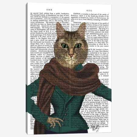 Feline Fashionista Canvas Print #FNK1038} by Fab Funky Canvas Wall Art