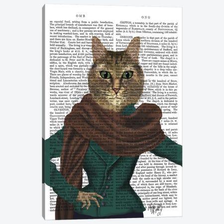 Feline Fashionista Canvas Print #FNK1038} by Fab Funky Canvas Wall Art