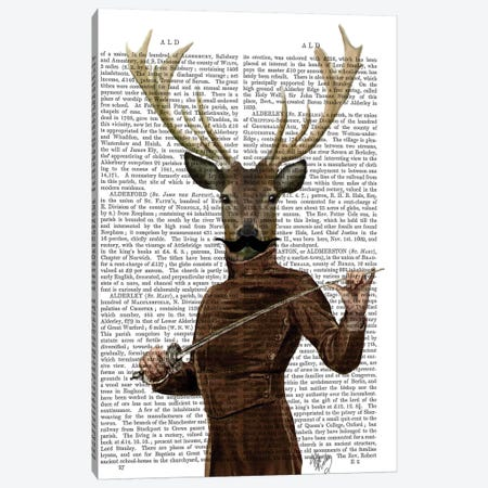 Fencing Deer Portrait Canvas Print #FNK1040} by Fab Funky Art Print