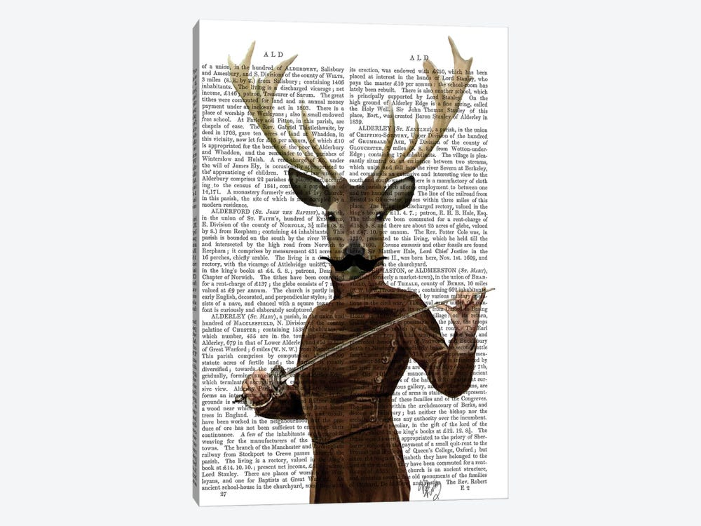 Fencing Deer Portrait by Fab Funky 1-piece Canvas Art Print