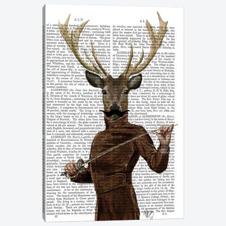 Fencing Deer Portrait Canvas Print #FNK1040} by Fab Funky Art Print
