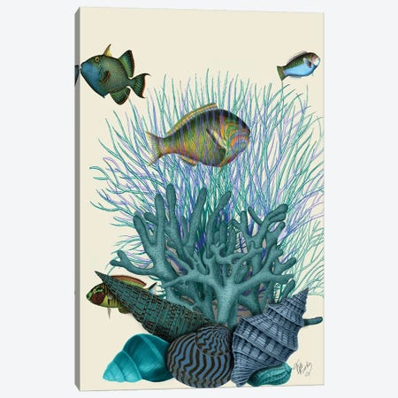 Fish Blue Shells & Corals Canvas Print #FNK1041} by Fab Funky Canvas Art Print
