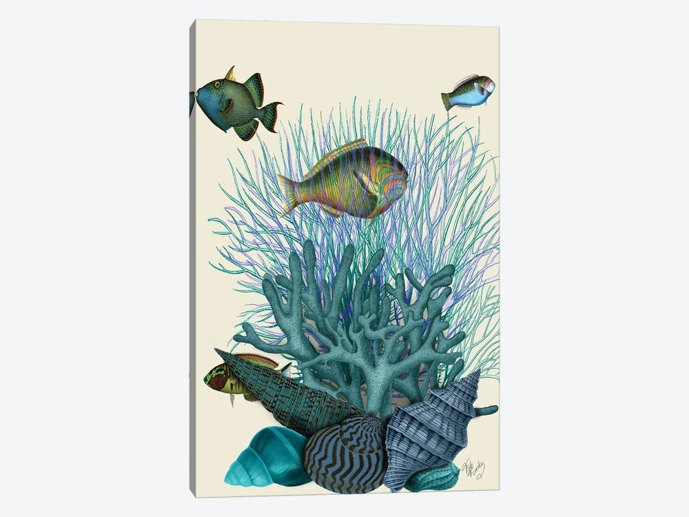 Fish Blue Shells & Corals by Fab Funky 1-piece Canvas Art