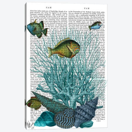 Fish Blue Shells & Corals, Print BG Canvas Print #FNK1042} by Fab Funky Canvas Print