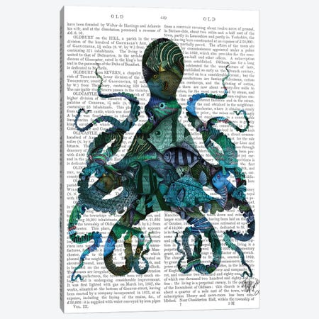 Fishy Blue Octopus Canvas Print #FNK1043} by Fab Funky Canvas Art Print