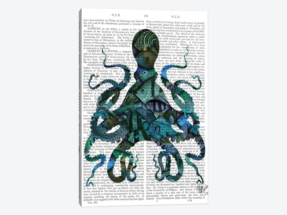 Fishy Blue Octopus by Fab Funky 1-piece Canvas Wall Art