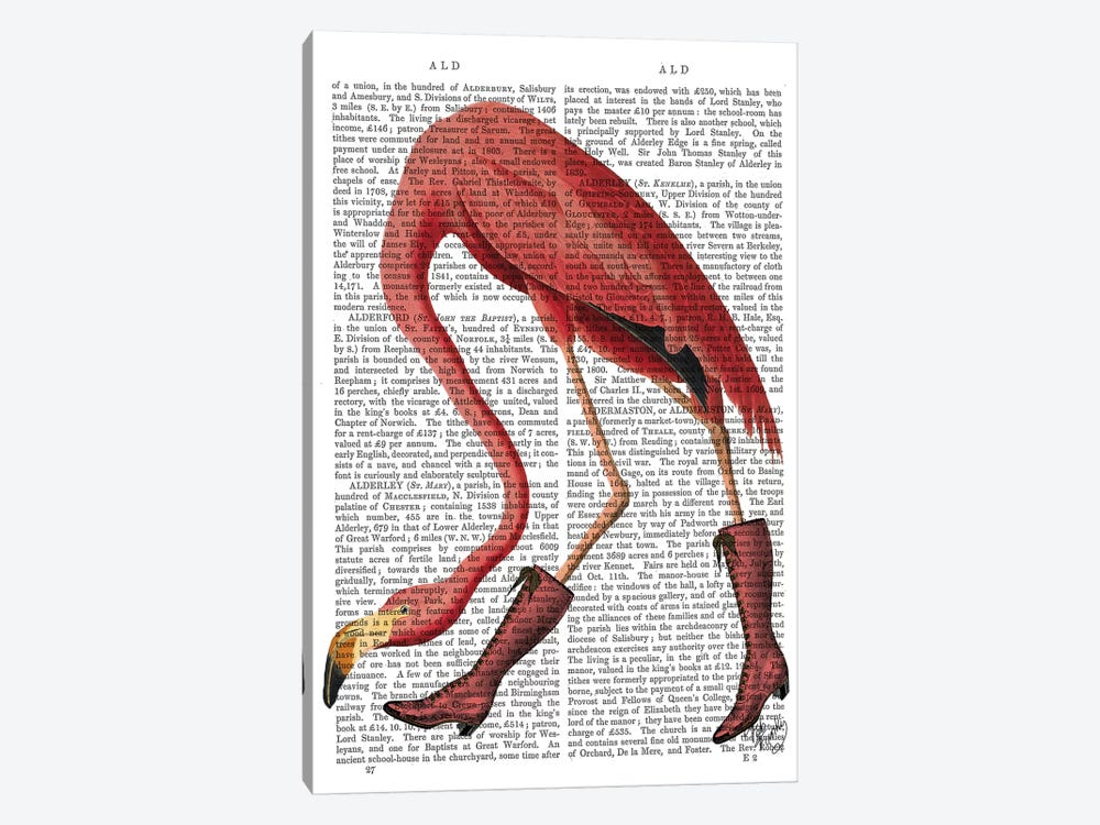 Flamingo In Pink Boots by Fab Funky 1-piece Canvas Wall Art